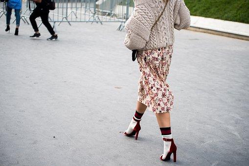 People, Girl, Woman, Walking, Footwear, Socks, Heel