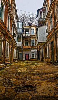 Yard, Odessa, Old, Road, Doors, Balconies