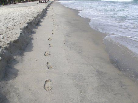 Sand, Beach, Footprints, Sand Beach, Sea, Water