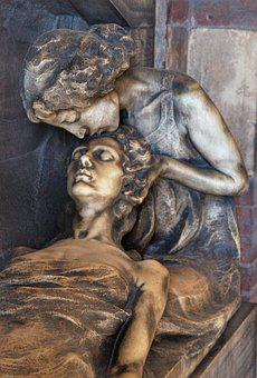 Grief, Death, Family, Statue, Monument, Grave, Stone
