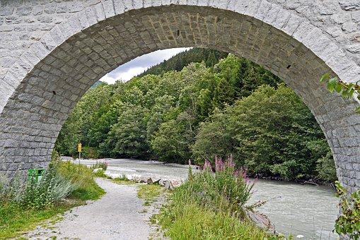 Alps River, Viaduct, Stone Arch, Fieschertal