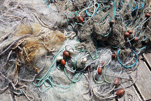 Fishing Net, Tangled, On The Shore, Fishing, Mediteran