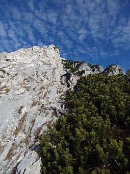 Traunstein, Climb, Mountains, Rock Wall, Alpine, Deep