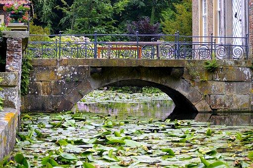 Water Bridge, Stone Bridge, Water Roses, Old, Romantic