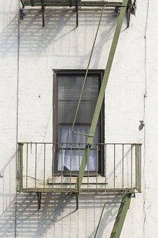 Windows, Fire Exit, Ladder, Steel, Curtain