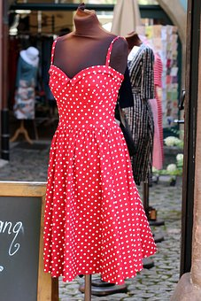 Dress, Red, With Points, Stand, Suspended