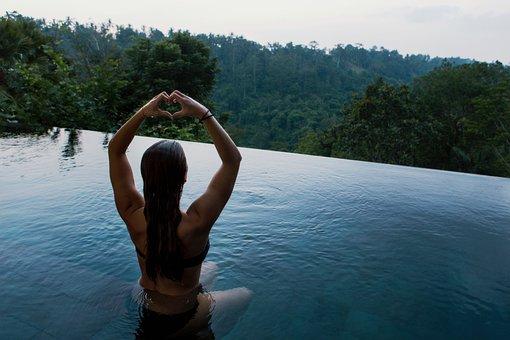 People, Girl, Woman, Alone, Meditation, Swimming, Pool