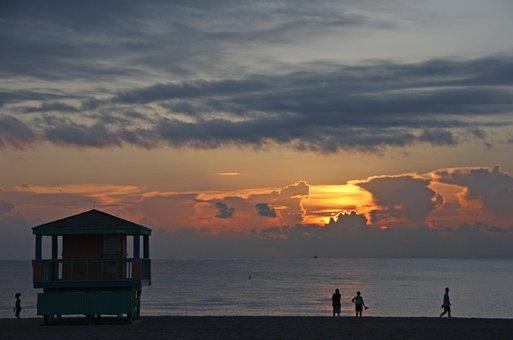 Miami, Beach, Sunset, Sea, Miami Beach, Water, Usa