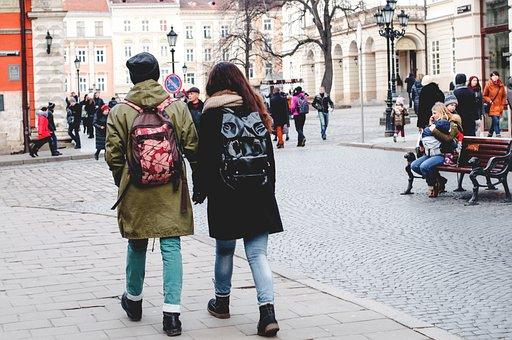 People, Couple, Man, Woman, Walking, Plaza, Travel