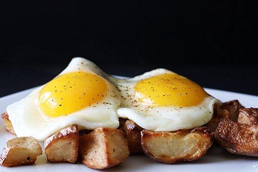 Eggs, Fried Eggs, Fried, Sunny Side Up, Potatoes
