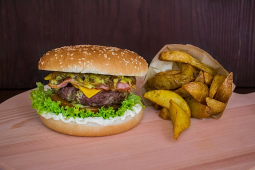 Burger, Hamburger, Wedges, Fries, Potatoes, Food, Lunch