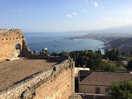 Taormina, Landscape, View, Distant View, Outlook, Tower