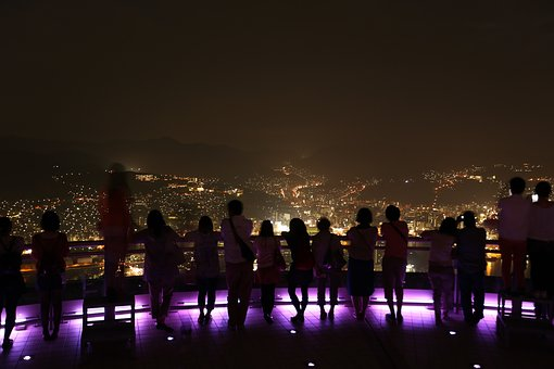 People, Man, Woman, Shadow, Dark, Night, Roof Top