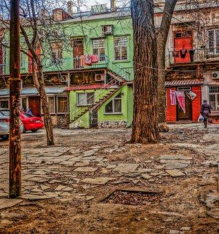 Yard, Odessa, Tree, Woman, Doors, Machine, Ladder