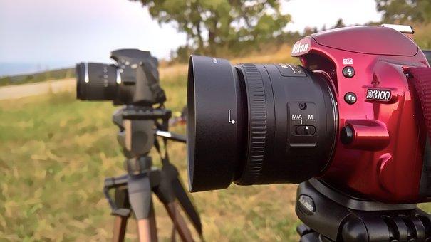 Camera, Cameras, Slr Camera, Tripod, Lens