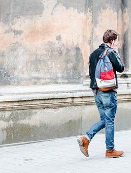People, Man, Guy, Walking, Travel, Phone, Talking