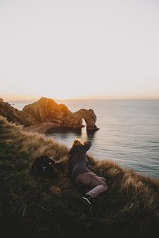 Grass, Blur, Coast, Sea, Water, Sunrise, Cliff, Rocks