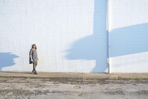 Wall, White, People, Woman, Blonde, Windy