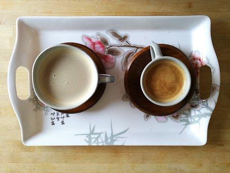 Coffee, Cup, Tray, Wood, Flowers, Kanji, Chinese