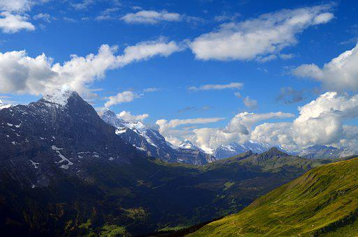 Alpine, Panorama, Eiger, Monk, Virgin, Meadow, Rock