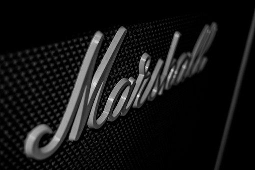 Guitar, Marshall, Amp, Amplifier, Black White
