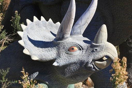 Triceratops, Dinosaur, Statue, Fossil, Reptile, Animal