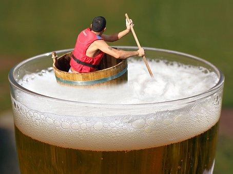 Beer, Afloat, Drifting, Indulge, Tub, Floating, Drunk