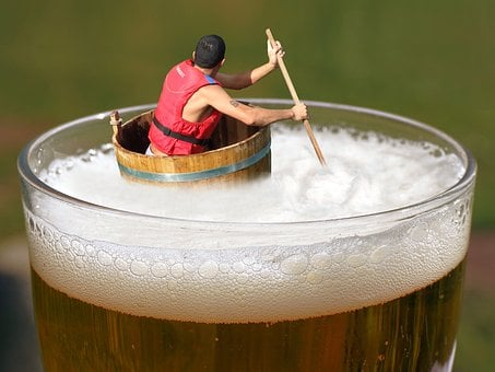 Beer, Afloat, Drifting, Indulge, Tub, Floating, Drunk