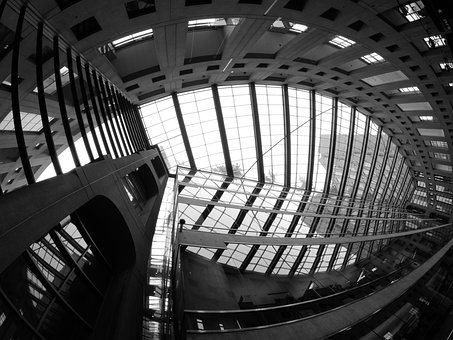 Vancouver, City, Library, Black And White, Architecture