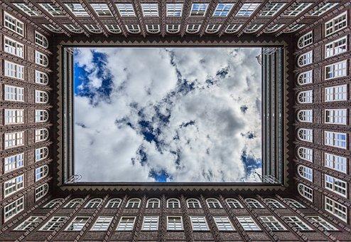 Chilehaus, Building, Clouds, Sky, Symmetry, Symmetrical