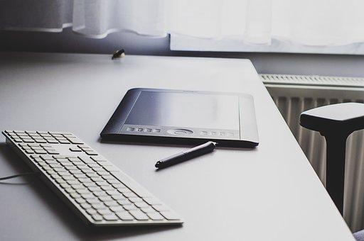 Office, Desk, Business, Keyboard, Tablet, Wacom, Pen