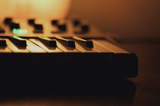 Music, Keyboard, Lamp, Keys, Wooden Desk, Orange Light