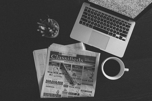 Computer, Laptop, Macbook, Work, Newspaper, Coffee