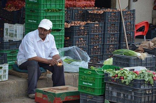 Vegetables, Market, Dealer, Asylum Seekers, Syria, Sell