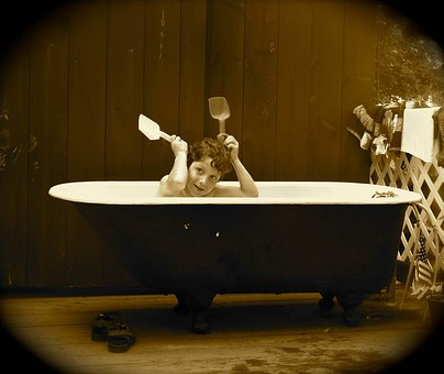 Boy, Tub, Antique, Sepia, Shoes, Silly, Bathing, Bath