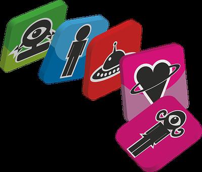 Domino, 3d, Aliens, Strange Figures, Heart, Spacecraft