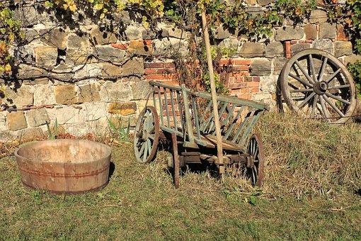 Wooden Tub, Handcart, Spoke Wheel, Wooden Wheel, Old