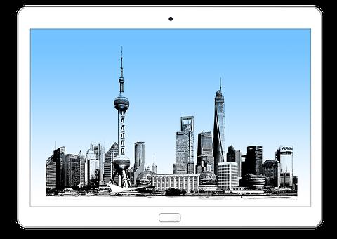 Tablet, Technology, Shanghai, China, Asia, Skyline