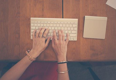 Female, Hands, Typing, Keyboard, Trackpad, Business