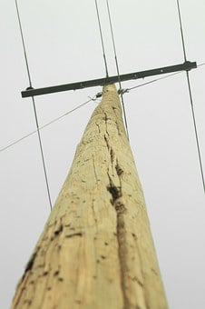 Electricity, Cables, Wooden Poles, Electrical Wires