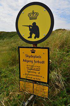 Denmark, Military Training Area, Access Forbidden, Sign