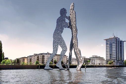 Molecule Man, Berlin, Spree, Sculpture, Artwork