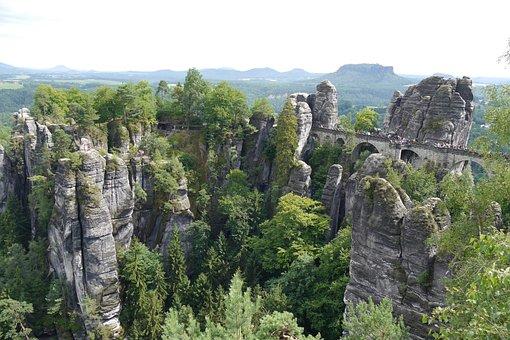 Saxon Switzerland, Bastei, Sandstone, Landscape, Nature