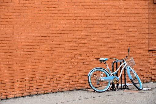 Bike, Bicycle, Basket, Bricks, Wall