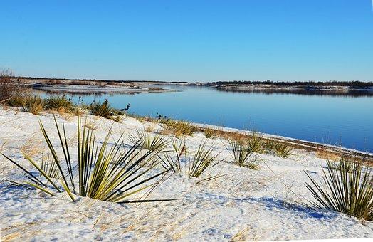 Yucca, Landscape, Snow, River, Missouri, Oahe, Dam