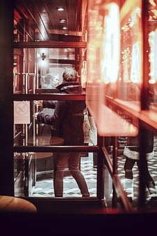 People, Man, Woman, Door, Glass, Windows, Dark, Night