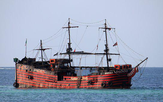 Galleon, Ocean, Pirates, Red, Black, Sails, Sea, Ship