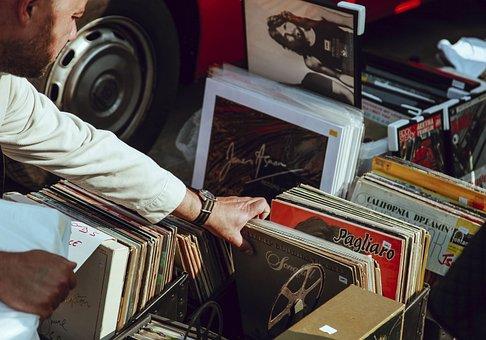 Hand, Vinyl, Album, Old, Vintage, Music, Sound