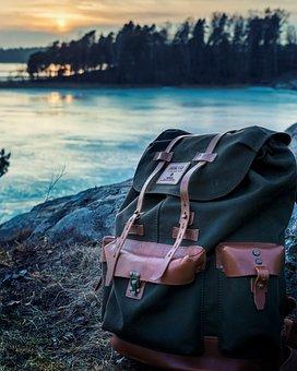 Bag, Backpack, Travel, Outdoor, Adventure, Rocks, Lake