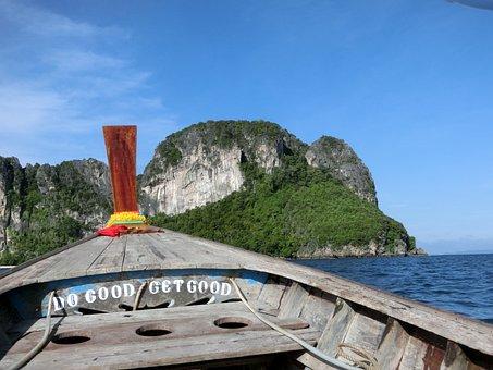 Longboat, Phi Phi, Thai, Sea, Tropical, Tourism